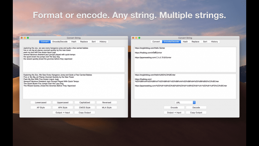 Convert String for Mac - review, screenshots