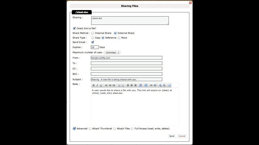 CrushFTP Professional for Mac - review, screenshots