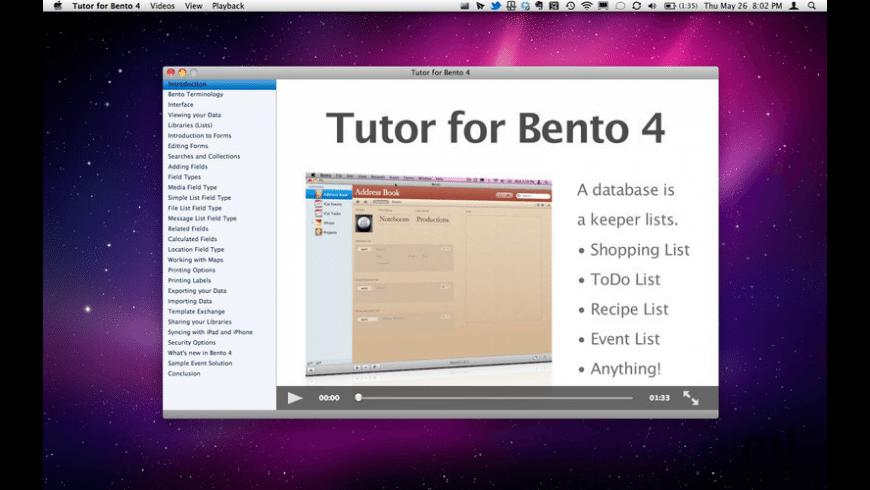 Tutor for Bento for Mac - review, screenshots