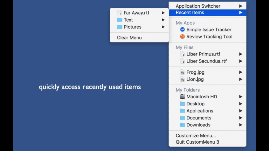 CustomMenu 3 for Mac - review, screenshots