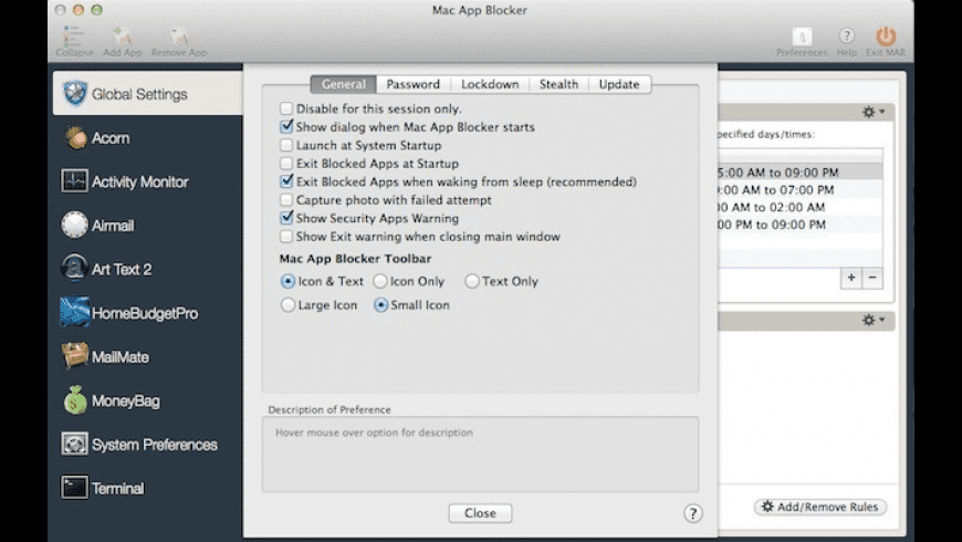 Mac App Blocker for Mac - review, screenshots