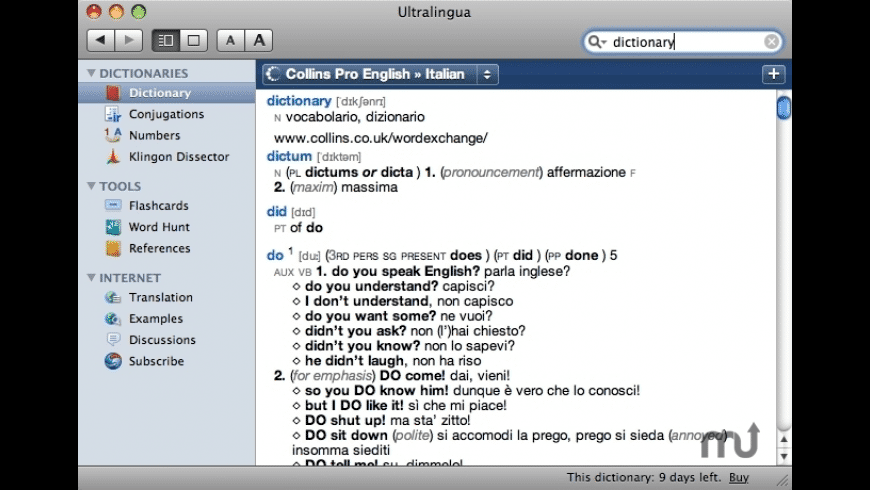 Collins Italian-English Dictionary & Verbs for Mac - review, screenshots