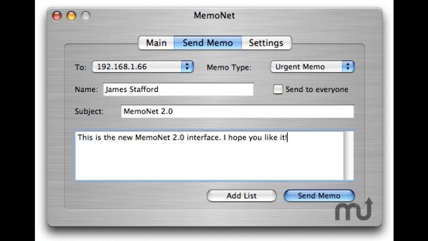 MemoNet 2009 for Mac - review, screenshots