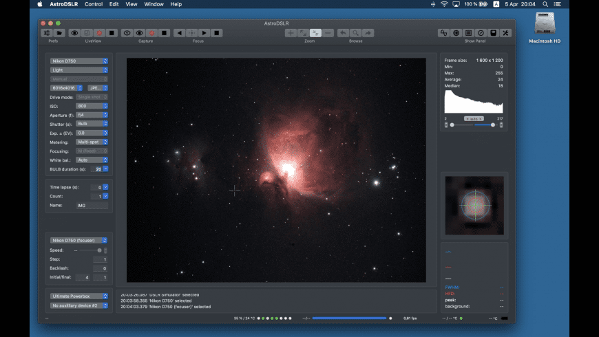 AstroDSLR for Mac - review, screenshots