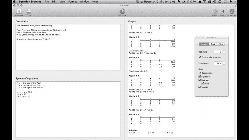 Equation Systems for Mac - review, screenshots