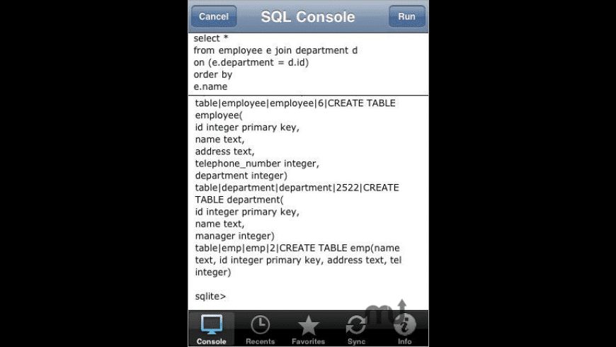 SQLite Database Console for Mac - review, screenshots