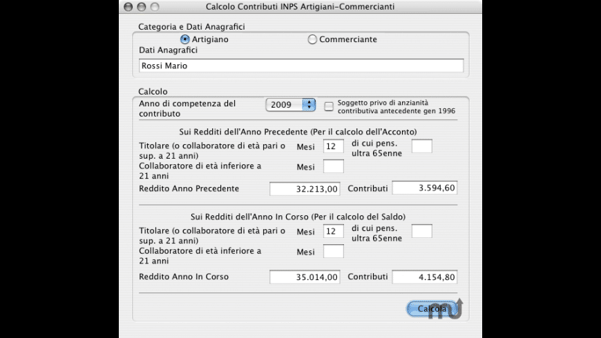 Calcolo Contributi INPS for Mac - review, screenshots