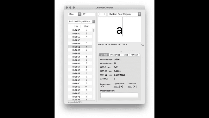 UnicodeChecker for Mac - review, screenshots