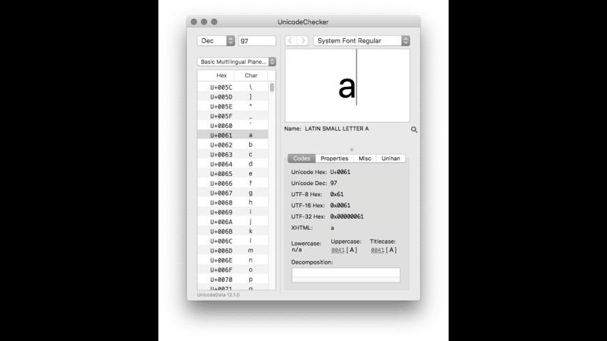 UnicodeChecker for Mac - review, screenshots