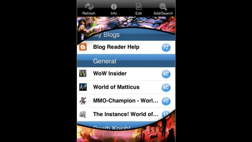 WoW Blog Reader for Mac - review, screenshots
