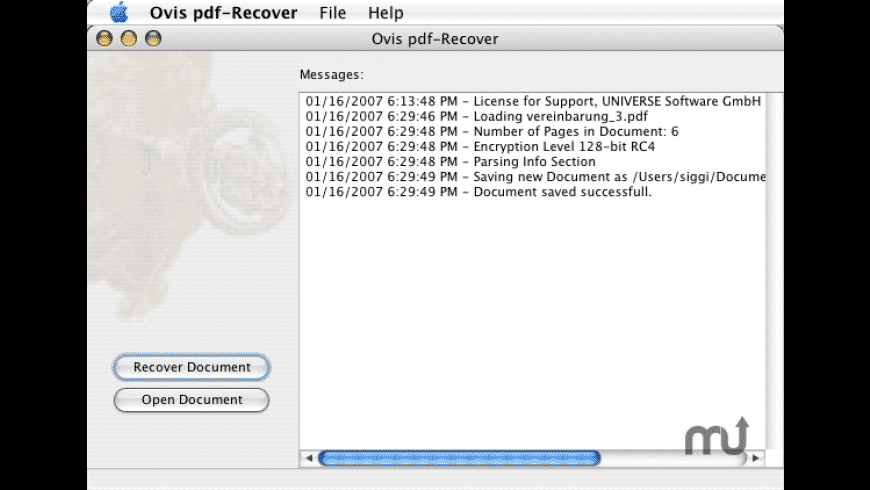 pdf-Recover for Mac - review, screenshots