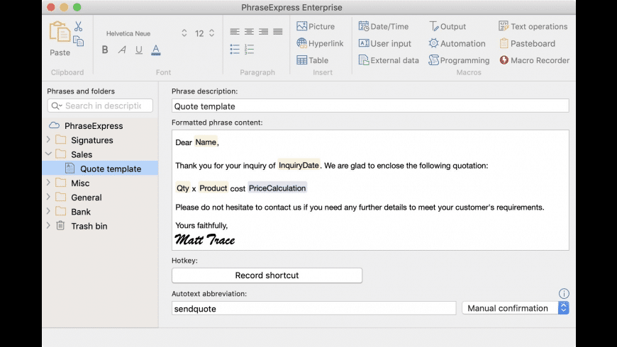 PhraseExpress for Mac - review, screenshots