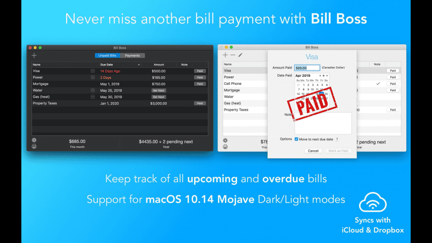 Bill Boss for Mac - review, screenshots