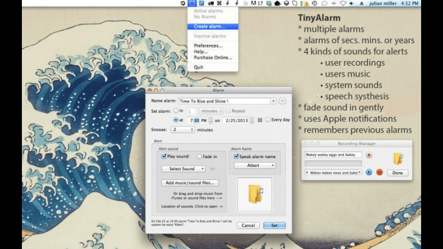 TinyAlarm for Mac - review, screenshots