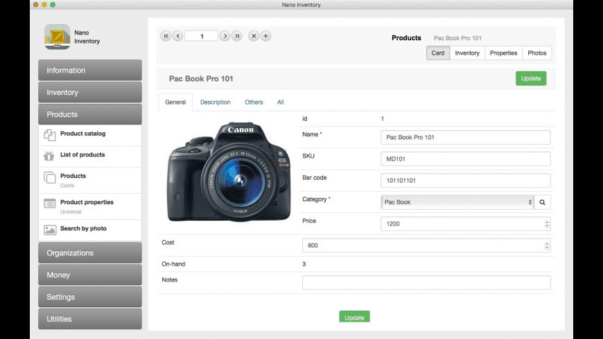 Nano Inventory for Mac - review, screenshots