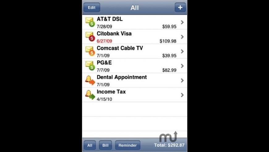 Bills & Reminders for Mac - review, screenshots