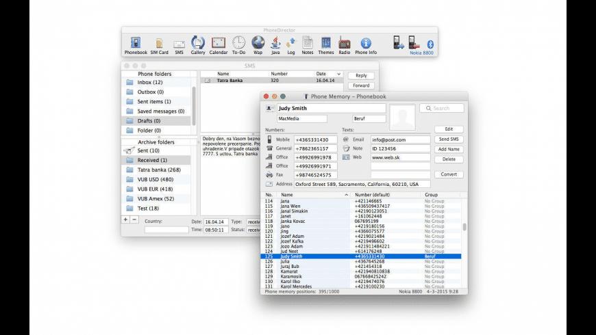 PhoneDirector for Nokia for Mac - review, screenshots