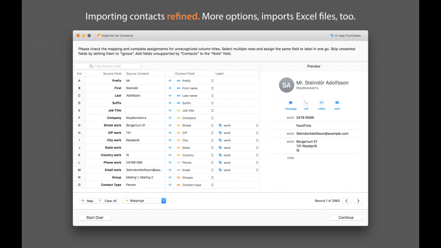 Importer for Contacts for Mac - review, screenshots