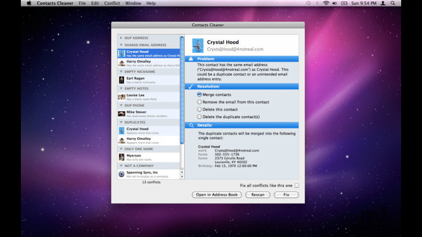 Contacts Cleaner for Mac - review, screenshots