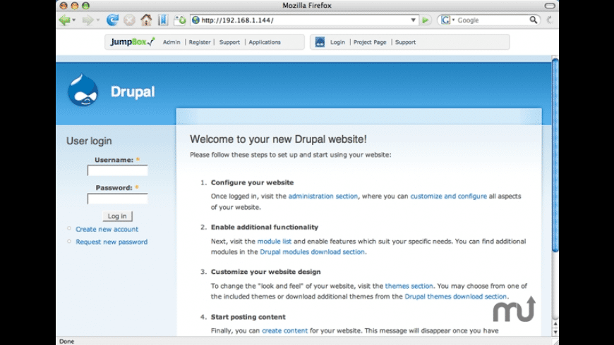 JumpBox for Drupal CMS for Mac - review, screenshots
