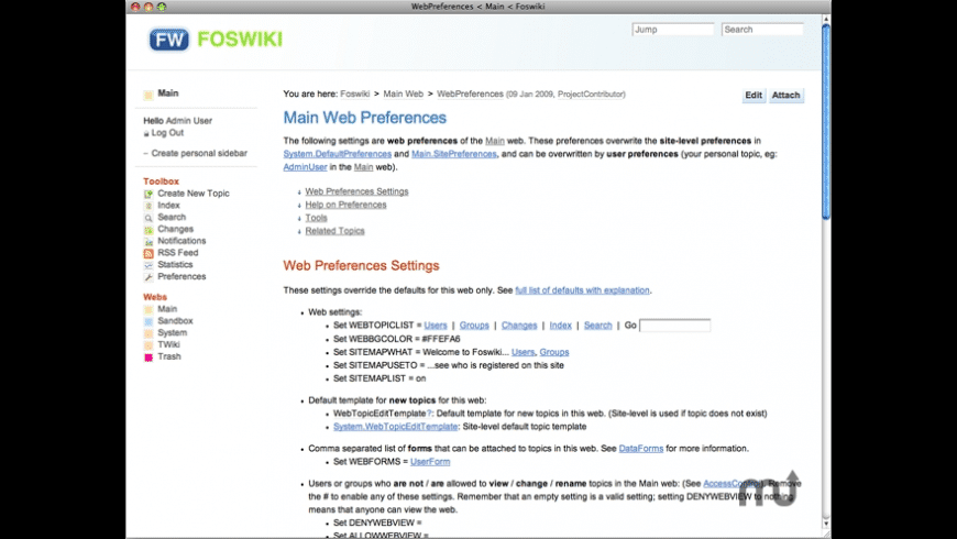 JumpBox for Foswiki Wiki System for Mac - review, screenshots