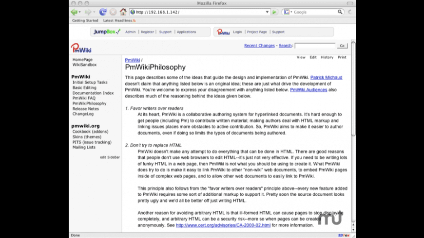 JumpBox for the PmWiki Wiki Software for Mac - review, screenshots