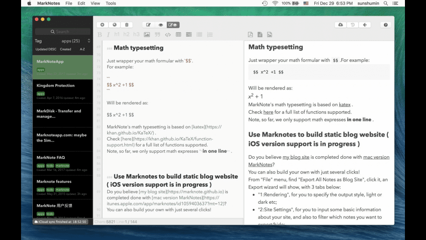 MarkNotes for Mac - review, screenshots