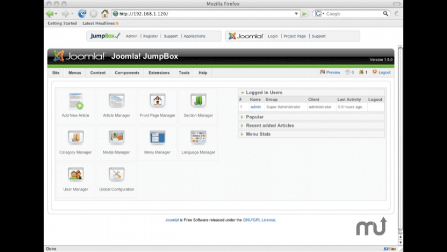 JumpBox for the Joomla! CMS for Mac - review, screenshots