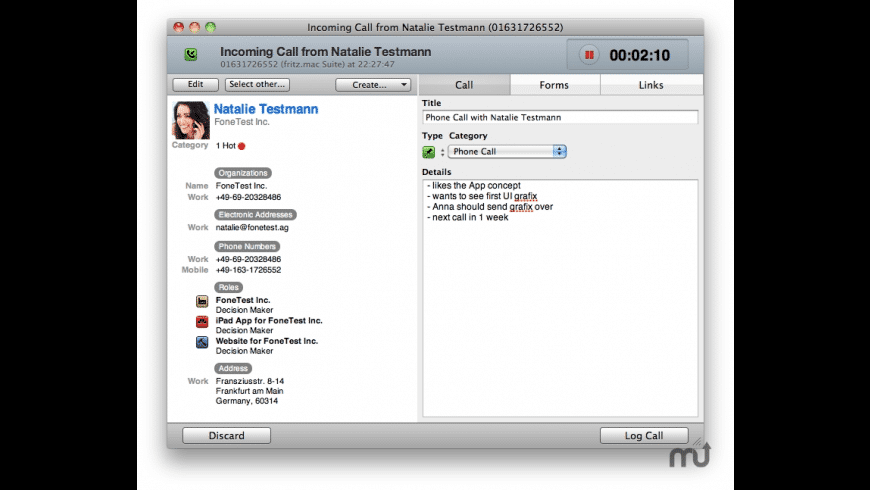 FoneConnector for Daylite for Mac - review, screenshots