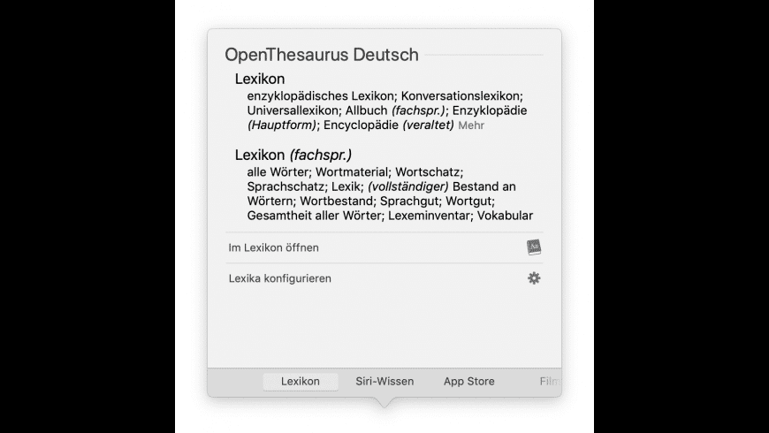OpenThesaurus Deutsch for Mac - review, screenshots