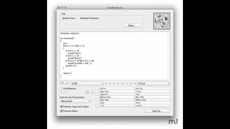 TextBatchConv for Mac - review, screenshots