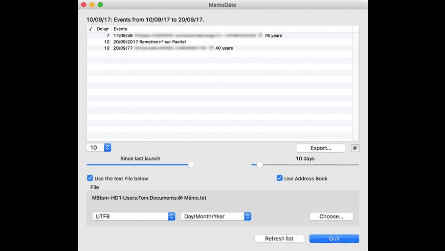 MemoDate for Mac - review, screenshots