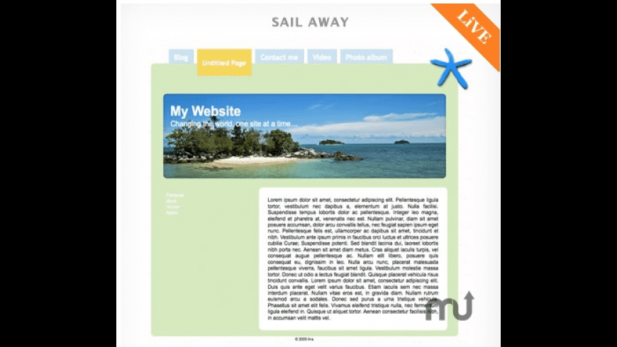 RapidWeaver Themes: Sail Away for Mac - review, screenshots