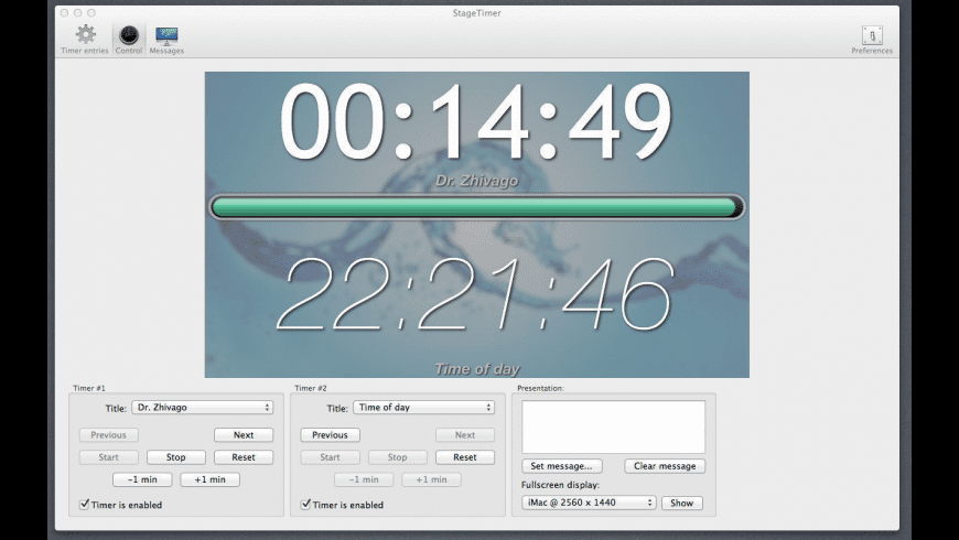 StageTimer for Mac - review, screenshots