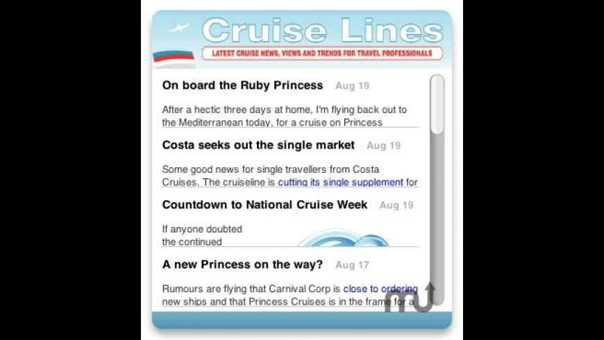 Travel Weekly Cruise Lines Widget for Mac - review, screenshots