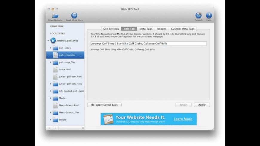 iWeb SEO Tool for Mac - review, screenshots