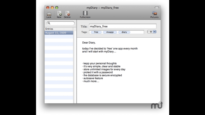 myDiary_free for Mac - review, screenshots