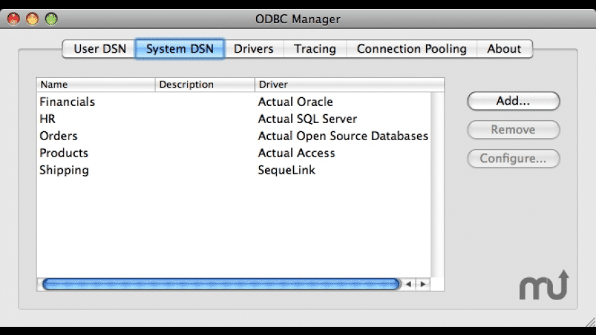 ODBC Manager for Mac - review, screenshots