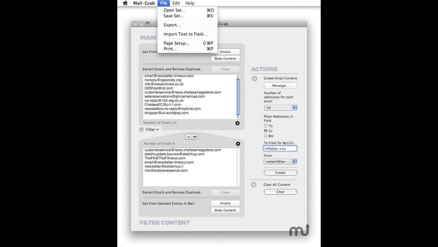Mail-Grab for Mac - review, screenshots