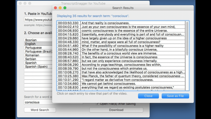 TranscriptSnagger for YouTube for Mac - review, screenshots