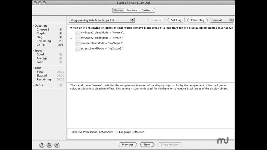 Adobe Flash CS5 ACE Exam Aid for Mac - review, screenshots