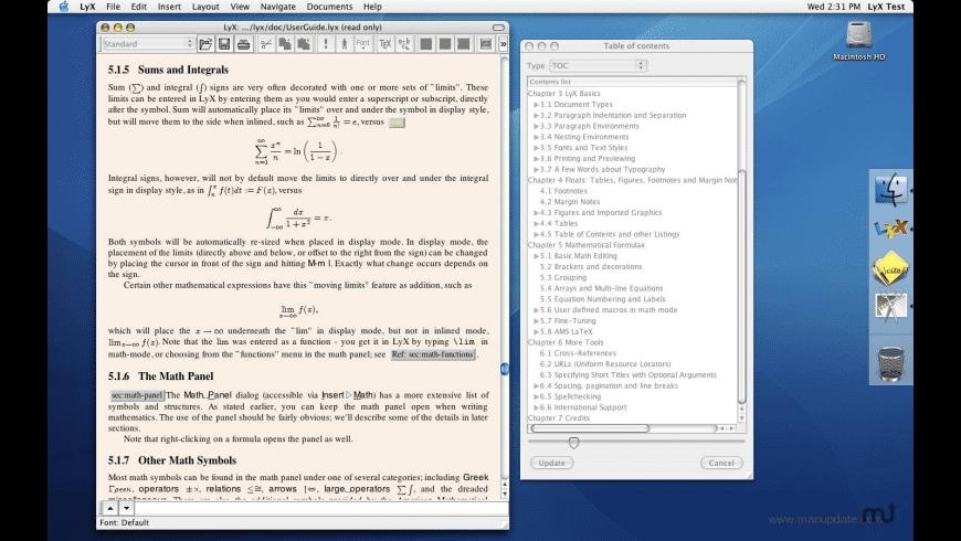 LyX for Mac - review, screenshots