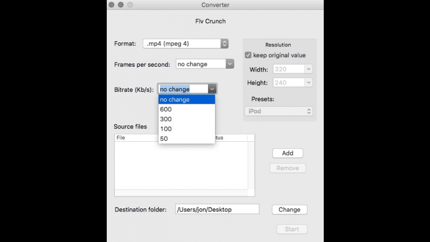 FLV Crunch for Mac - review, screenshots
