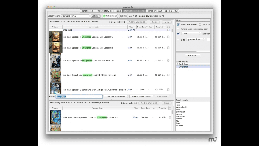 AuctionSieve for Mac - review, screenshots