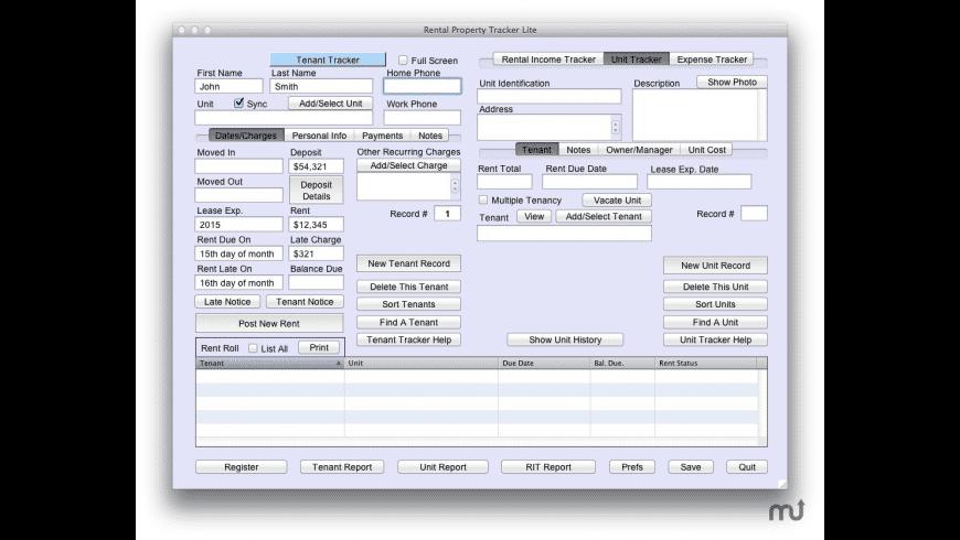 Rental Property Tracker Lite for Mac - review, screenshots