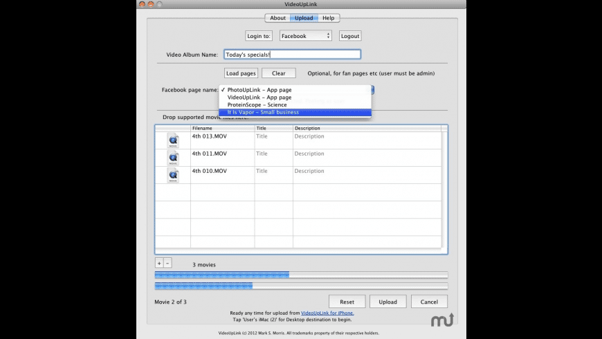 VideoUpLink for Mac - review, screenshots