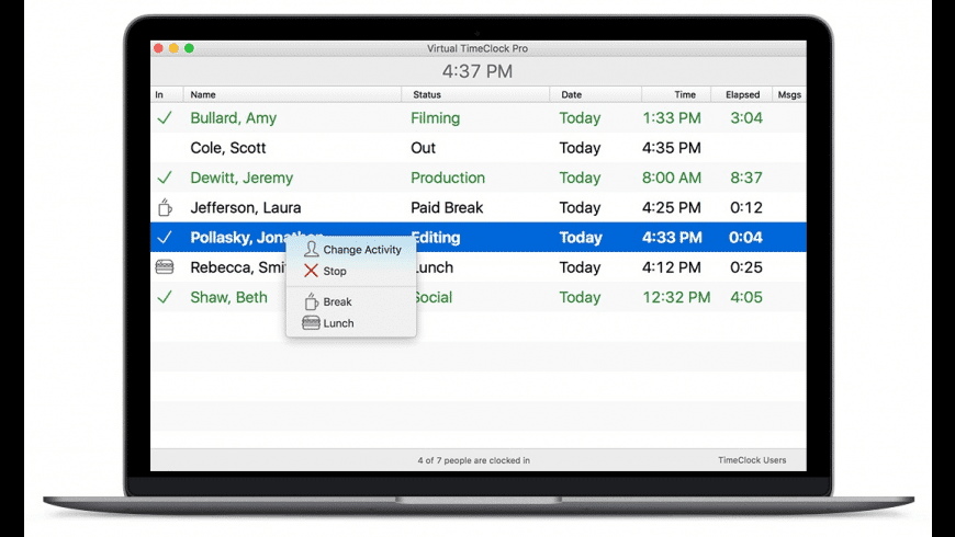 Virtual TimeClock Pro for Mac - review, screenshots