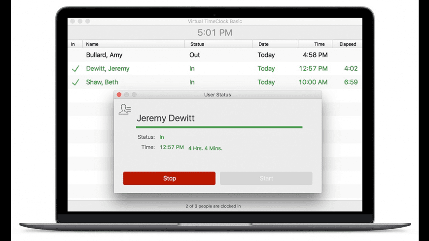 Virtual TimeClock Basic for Mac - review, screenshots