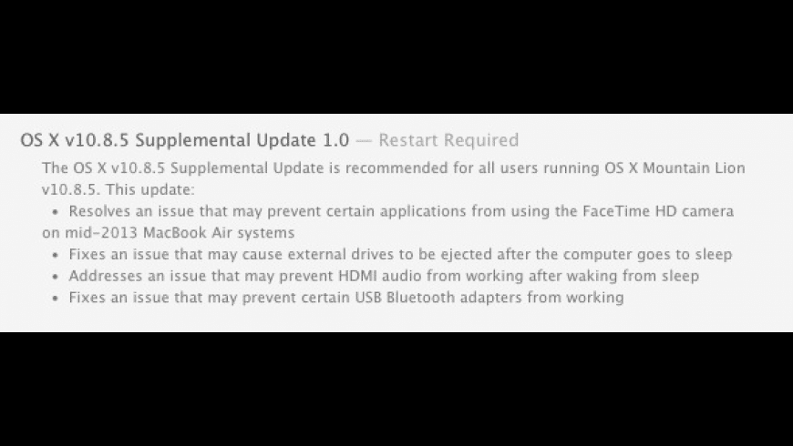 OS X 10.8.5 Supplemental Update for Mac - review, screenshots
