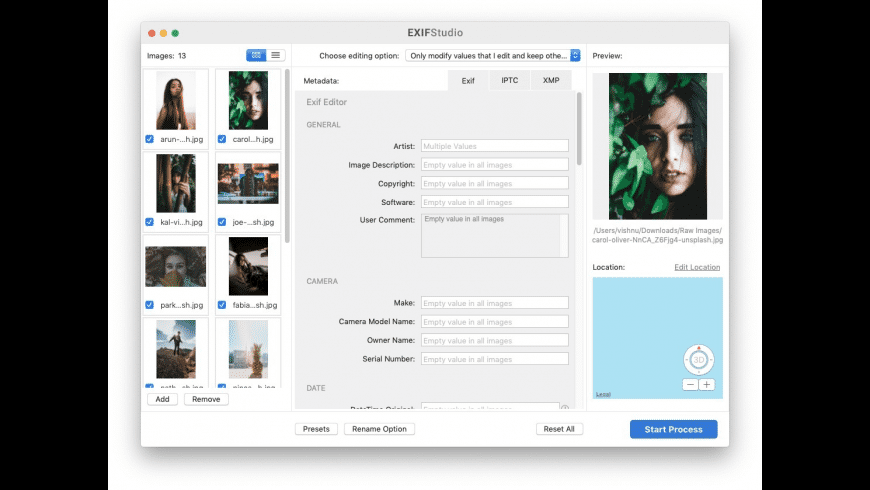 EXIF Studio for Mac - review, screenshots